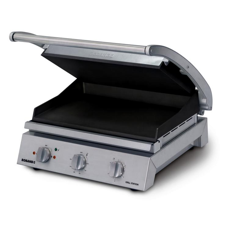 Roband Grill Station 8 Slice Smooth Plates, Non-Stick Coated 13Amp