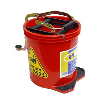 Mop Bucket with Foot Pedal Wringer 16Ltr Red