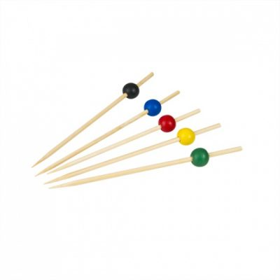 Bamboo Skewer Assorted Coloured Circles 125mm 100pcs-47955