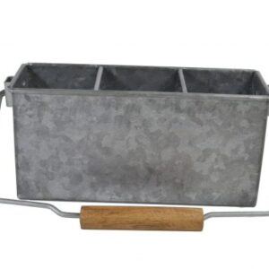 Chef-Inox-Coney-Island-Galvanised-3-Compartment-Caddy-with-handle-250mmx90mmx115mm-78695