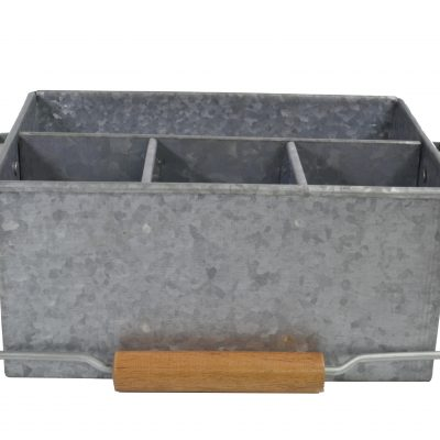 Chef-Inox-Coney-Island-Galvanised-4-Compartment-Caddy-with-handle-250mmx180mmx115mm-78696