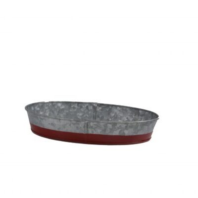 Chef-Inox-Coney-Island-Galvanised-Oval-Tray-Dipped-Red-270mmx190mmx45mm-78662