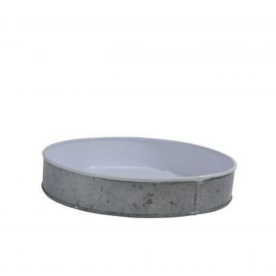 Chef-Inox-Coney-Island-Galvanised-Round-Tray-Dipped-White-270mmx190mmx45mm-78674