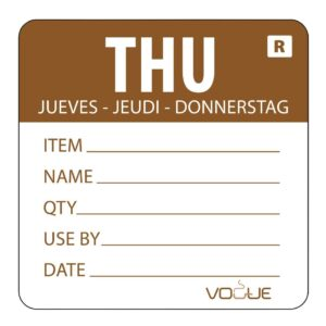 Vogue-Removable-Day-of-the-Week-Label-Thursday-Brown---500-per-Roll-DL069