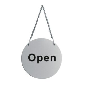 Wall Sign Round S/Steel with Chain OPEN CLOSE-57705